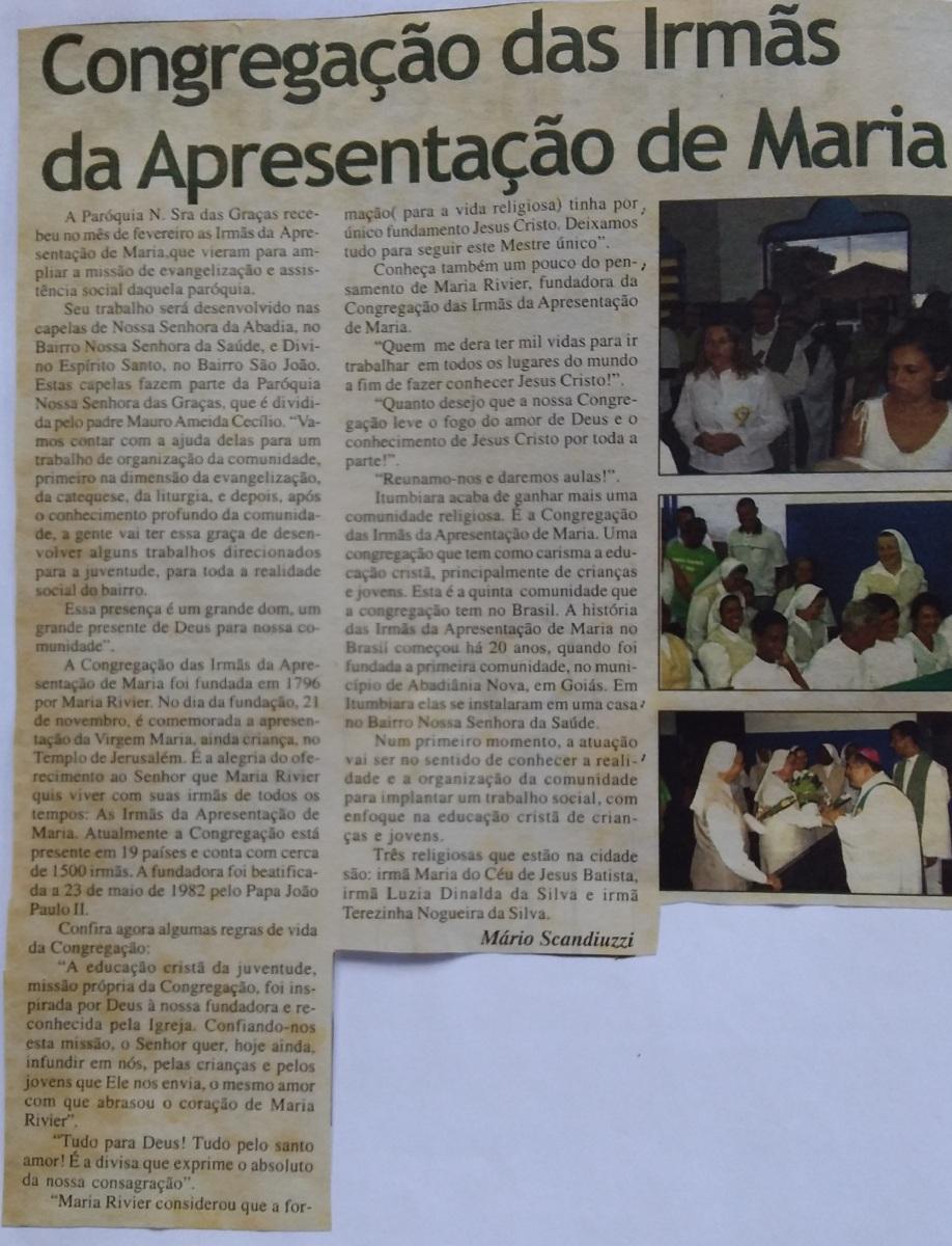 jornal-noticiando-a-chegada-das-irmas